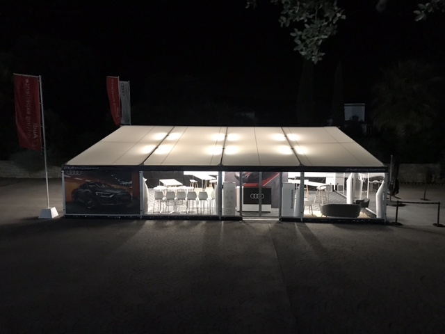 New tent to create functional spaces in motor events